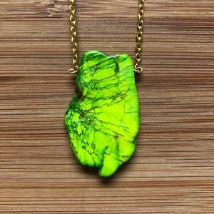 Jewelry - Handmade Faux Lime Green Howlite Necklace